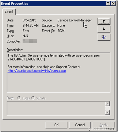 IIS Admin Service or a service dependent on IIS Admin is not