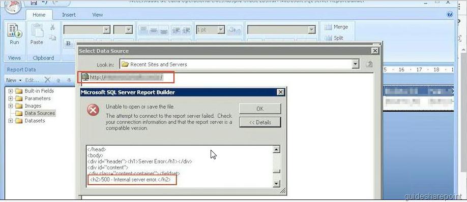 SSRS 2012 in SharePoint 2013 Mode – Error 500 – Internal